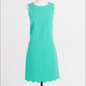 J. CREW FACTORY Green Scalloped Shift Dress